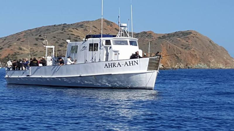 "FISH ""CATALINA ISLAND"" ABOARD THE AHRA-AHN THURS.-SUN. DEPARTING AT 7AM.  **CAPTAINS SPECIAL UNTIL END OF MAY!!** TICKETS ARE $80 ADULT/SNR AND $70 JR WHEN PREPAID THROUGH THE WEBSITE, WALK UP TICKETS ARE $90. THE AHRA-AHN RETURNS TO THE DOCK AT 7PM."